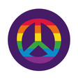 peace symbol with gay pride flag block style vector image vector image