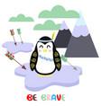 penguin in scandinavian style vector image