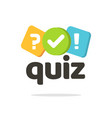 quiz logo icon symbol flat cartoon bubble vector image vector image
