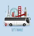 realistic touristic bus vector image vector image