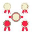 Retro Red color set of ribbon banner badges vector image