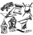 set knight elements vector image vector image