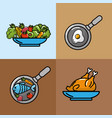 set nutrition vegetables and fruits with proteins vector image vector image