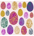 set of colorful easter eggs decorated with vector image