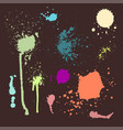 set of ink splashes blots splatter vector image