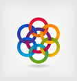 seven interlocked circles in gradient rainbow vector image vector image