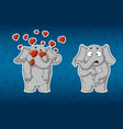 stickers elephants very in love he is surprised vector image vector image