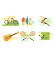 tourist equipment set camping and fishing vector image