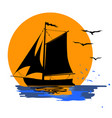 tropical evening sunset boat vector image vector image