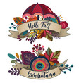 two autumn bouquets with ribbons lettering vector image