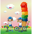 Two teenagers in a land full of sweets vector image vector image
