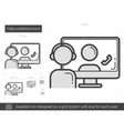 Video conference line icon vector image