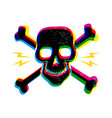vintage skull in cmyk style vector image