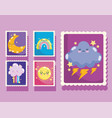 weather post stamp icons with cute rainbow cloud vector image vector image