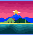 with man silhouette mountain landscape ocean vector image vector image