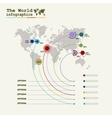 World map infographic template with diagrams and vector image