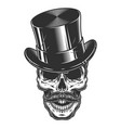 monochrome of skull with top hat and vector image