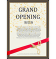 grand opening design scissors cut red ribbon vector image