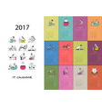 office workers calendar 2017 design vector image