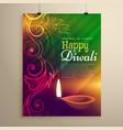 beautiful diwali flyer template with diya and vector image