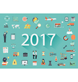 2017 with flat icon vector image vector image