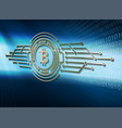 an abstract bitcoin sign on a blue background vector image vector image