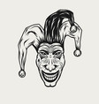 angry laughing joker vintage engraved vector image