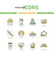 bakery shop - modern line design style icons set vector image