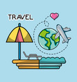beach world plane tourist vacation travel vector image vector image
