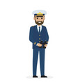 bearded captain in blue toggery with binoculars vector image