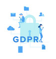big lock with inscription gdpr vector image