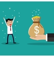 Business big hand giving money to businessman vector image