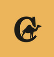 c letter with camel inside logo vector image
