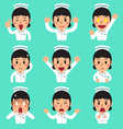 Cartoon female nurse faces showing different vector image vector image