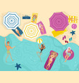 cartoon people in swimming beach vector image vector image