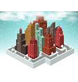 city in perspective winter vector image vector image