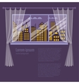 Colorful flat style of night window vector image