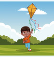 cute boy with kite vector image vector image