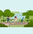cute family riding bicycles mom dad and children vector image