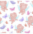 cute pigs angels in cartoon style funny vector image vector image