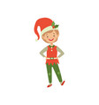 cute smiling christmas elf boy little santa claus vector image