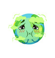 earth planet character suffocating from carbon vector image vector image