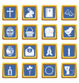 easter items icons set blue vector image vector image