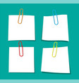 empty paper sheet hanging with paper clip vector image