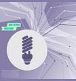 energy saving light bulb icon on purple abstract vector image