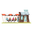 family in coffee shop design composition vector image vector image