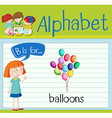 Flashcard letter B is for balloons vector image vector image