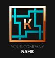 golden letter k logo symbol in the square maze vector image vector image