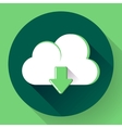 Green Cloud download icon Flat design style vector image