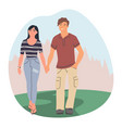 happy couple walking in forest flat vector image